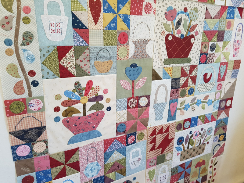 Sopwell Ladies Basket Society  Block of the Month Quilt close up