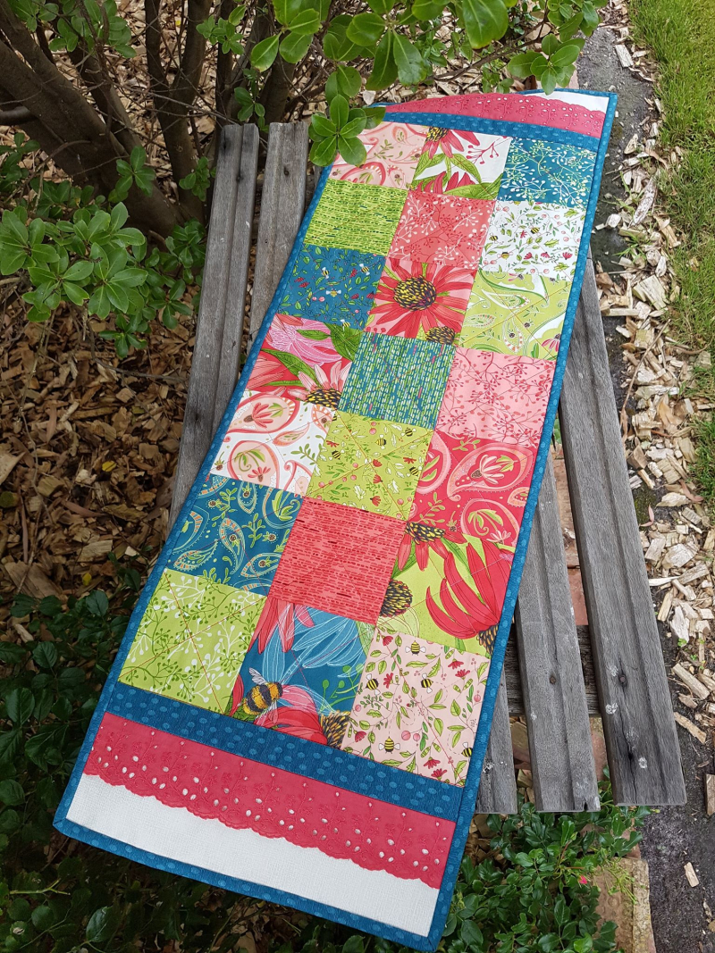Painted Meadow table runner finished
