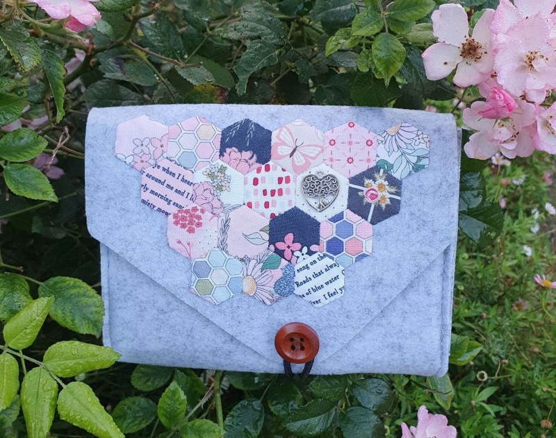 Pretty Hexagons Felted Pouch cropped