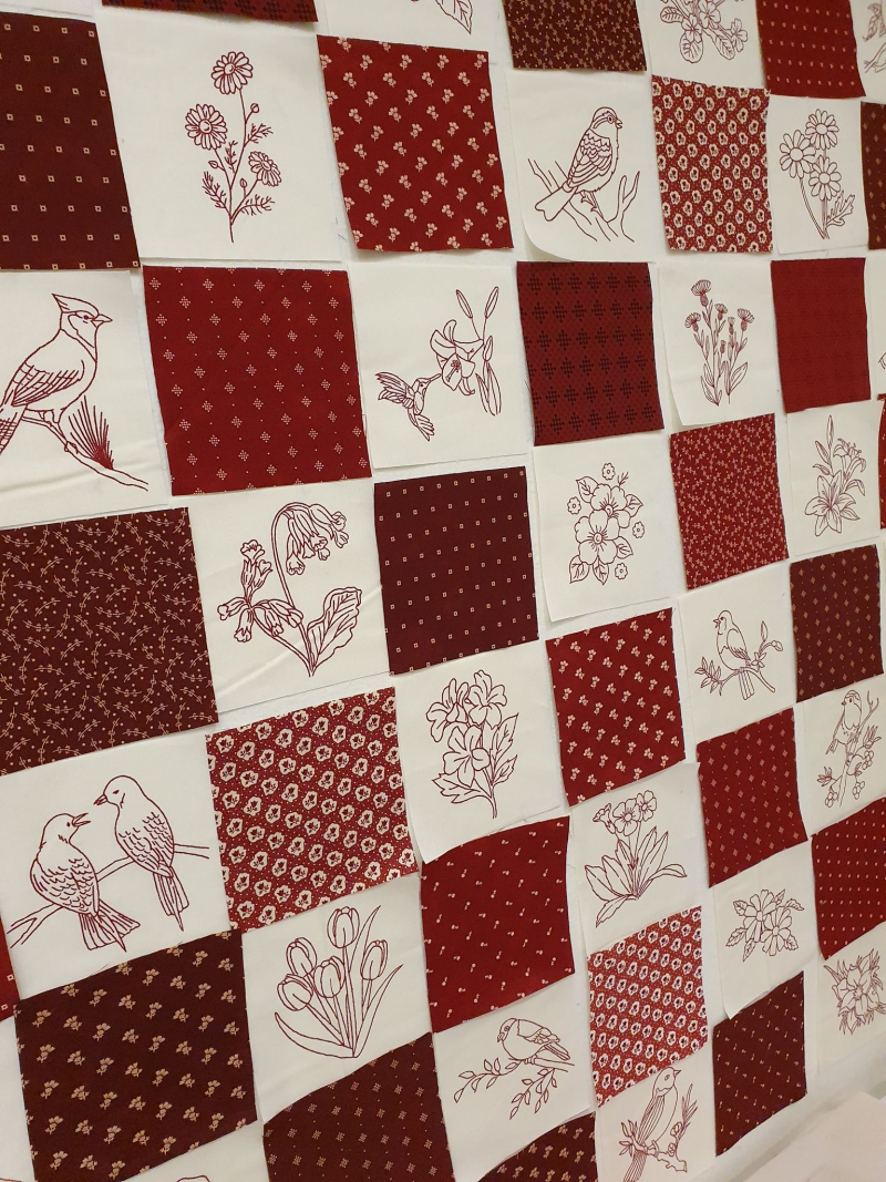 Redwork quilt placement